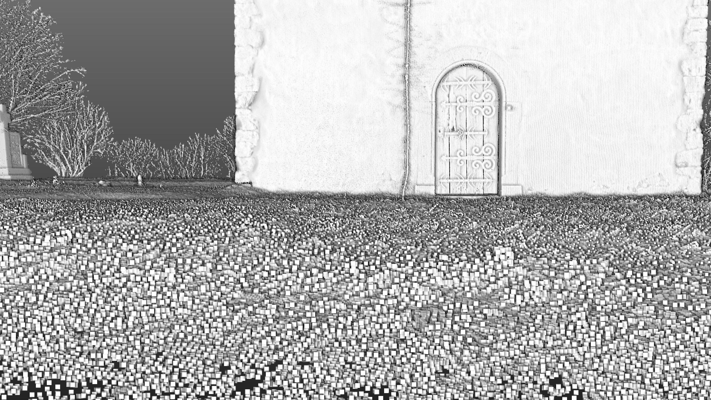 Detail mračna bodov z 3D laserového skenera