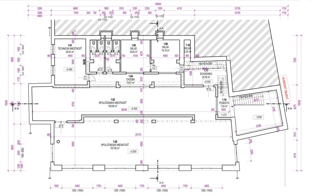 Floor plan of the building created from a point cloud
