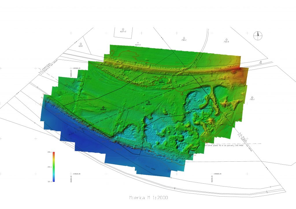 Another application of drone mapping is to survey a vast area and to create a digital terrain model, contour lines. In this case, the drone saved us a lot of time that we would otherwise spend manually surveying with a total station or GNSS receiver.
