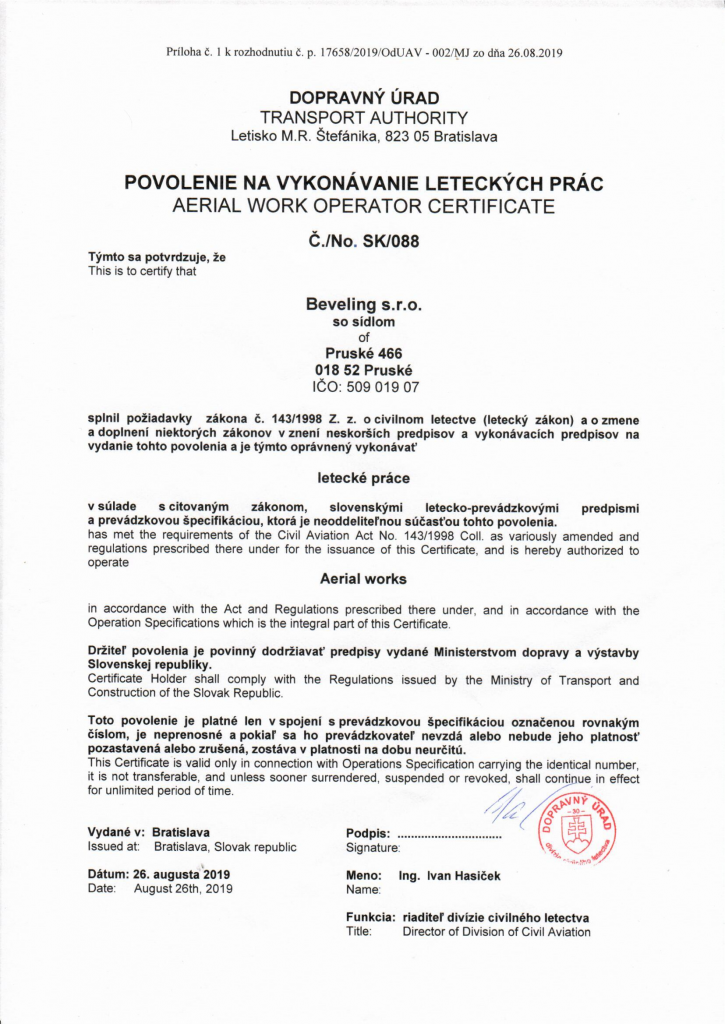 Aerial work operator certificate